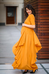 Luxe Mustard Bubble Georgette Elbow Sleeves Maternity Flow Dress