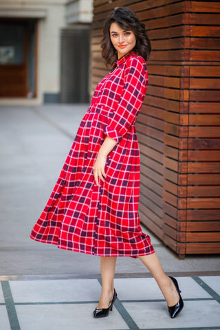 Slick Classic Red Plaid Maternity & Nursing Button Dress
