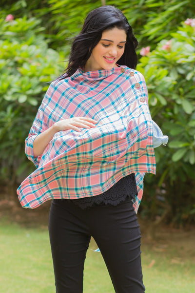 Rouge Pink Plaid Versatile Nursing Stole - MOMZJOY.COM