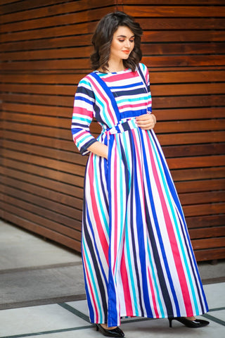 Carribean Blue Cherry Stripe Maternity & Nursing Maxi