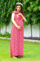 Hot Red Maternity & Nursing Flap Dress
