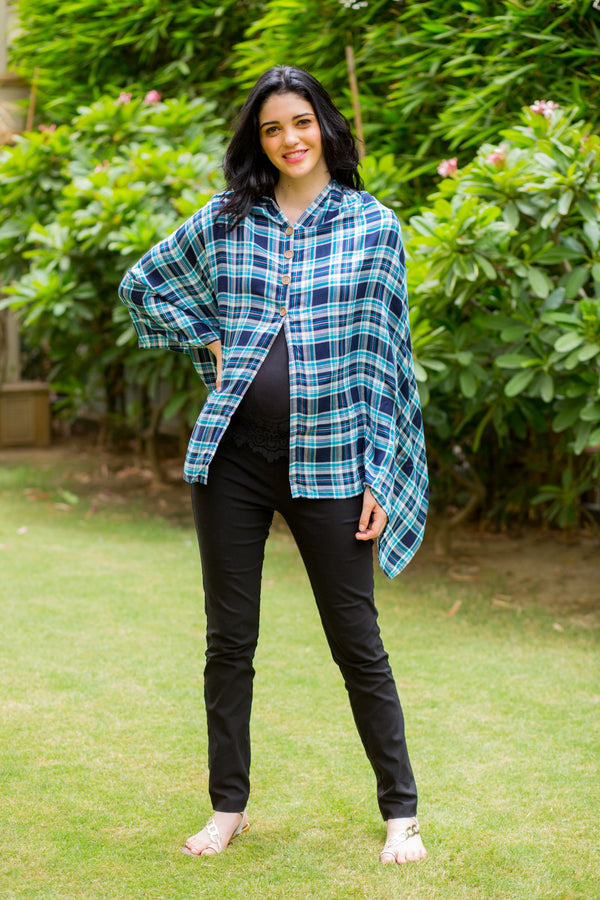 Exclusive Aqua Plaid Versatile Nursing Stole - MOMZJOY.COM