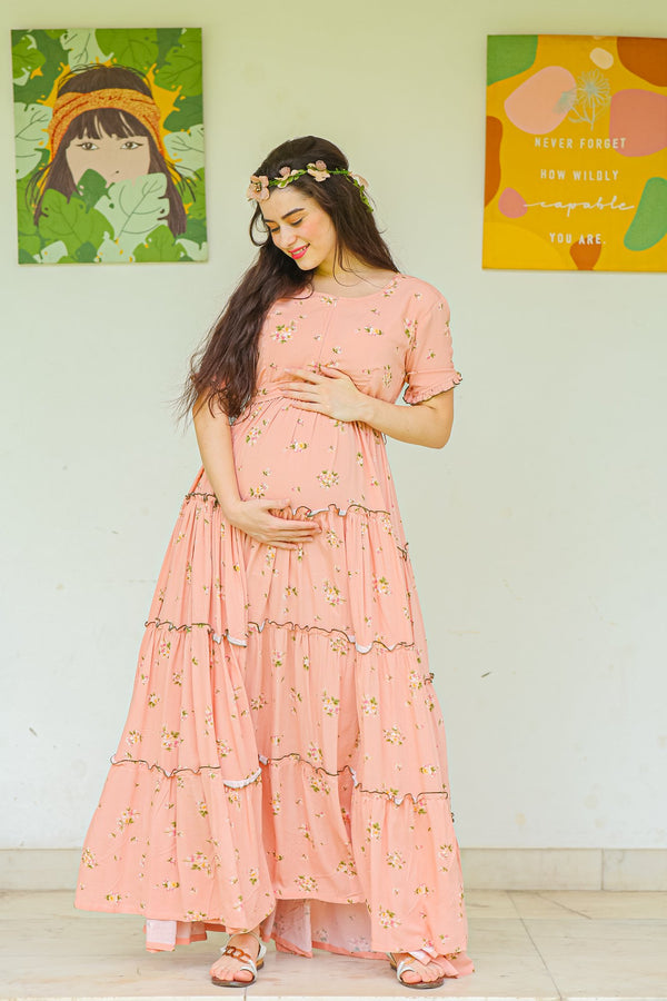 Peach Garden Frill Maternity & Nursing Dress