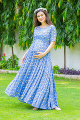 Blue Pink Blossom Maternity & Nursing Wrap Dress