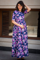 Blue Pink Blossom Maternity & Nursing Wrap Dress - MOMZJOY.COM