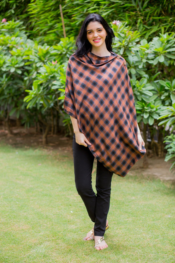 Beige Checkered Versatile Nursing Stole - MOMZJOY.COM
