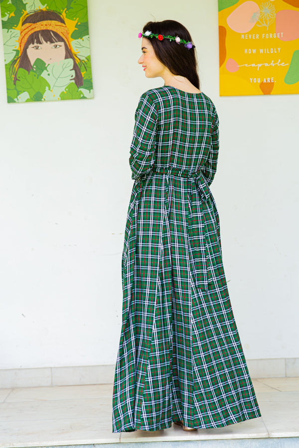 Jade Green Plaid Maternity & Nursing Maxi Dress