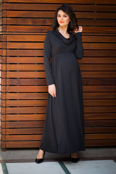 Exquisite Black Cowl Neck Off-shoulder Lycra Maternity Maxi Dress - MOMZJOY.COM