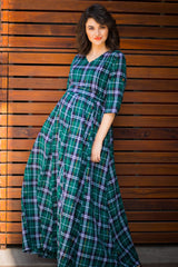 Nautical Teal Plaid Maternity & Nursing Maxi Dress