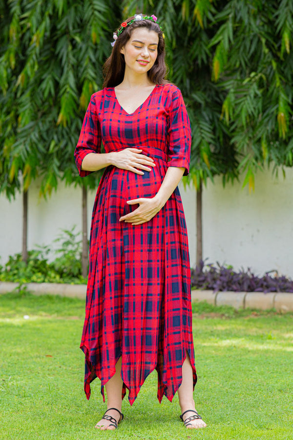 Timeless Red Plaid Maternity & Nursing Maxi Dress