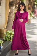 Classic Wine Cowl Neck Off-shoulder Lycra Maternity Maxi Dress - MOMZJOY.COM