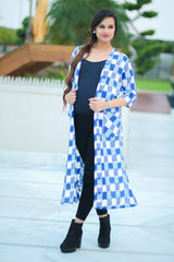Ikat Flamboyant Blue Long Maternity Cover Up