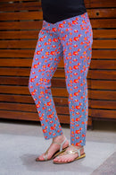 Blue Orange Floral Over The Bump Pants - MOMZJOY.COM