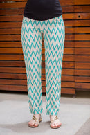 Aqua Zig-Zag Over The Bump Palazzo Pants - MOMZJOY.COM