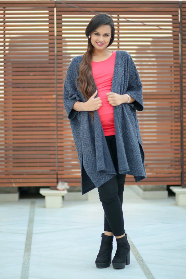 Blue-Grey Classic Maternity Cape - MOMZJOY.COM