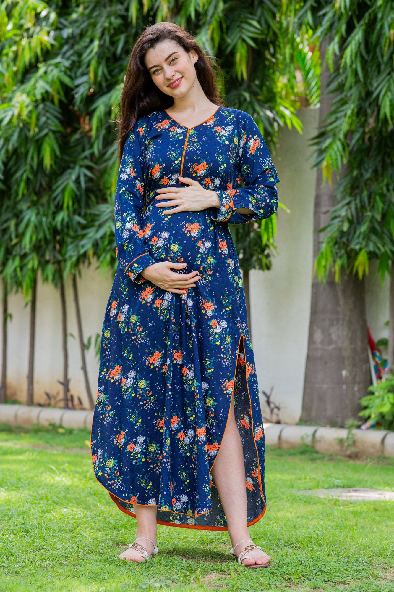 Deep Blue Check Ikat Maternity Cover Up