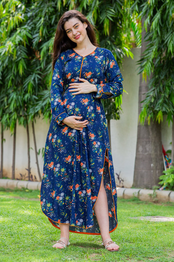 Blue Paisley Slit Concealed Zips Maternity & Feeding Dress