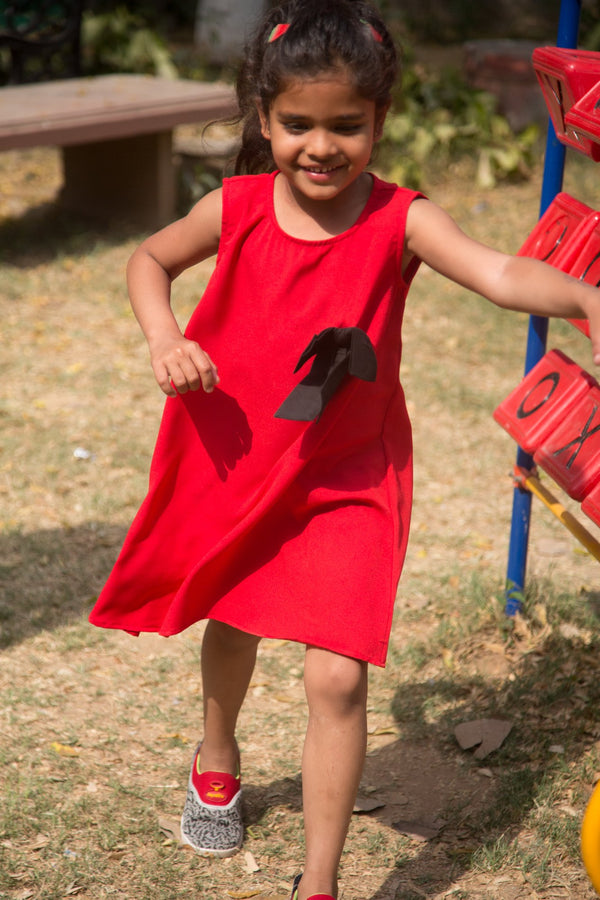 Cute Red Bow Sleeveless Dress (3 months to 8 years) - MOMZJOY.COM