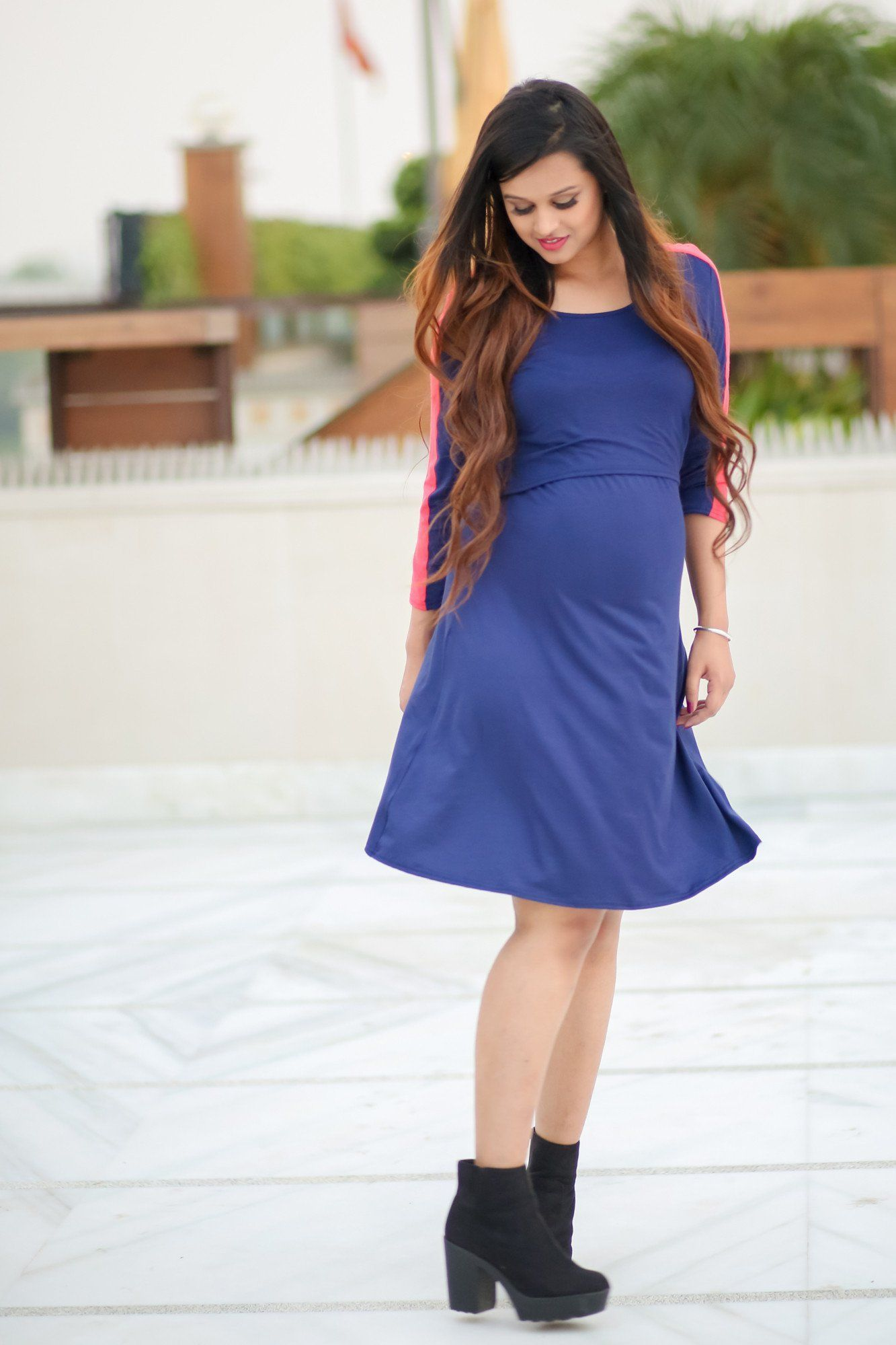 Navy Blue Chic Maternity & Nursing Dress