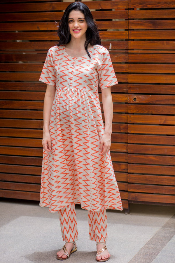 Orange Zig-Zag Over The Bump Palazzo Pants - MOMZJOY.COM