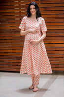 Set Of Two - Amber Zig-Zag Cotton Front Button Maternity & Nursing Kurta With Bottom Wear - MOMZJOY.COM