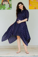 Asymmetrical Stripes Maternity & Nursing Dress