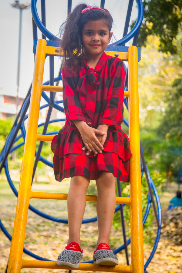 Classic Red Plaid Bow Dress (3 months to 8 years) - MOMZJOY.COM