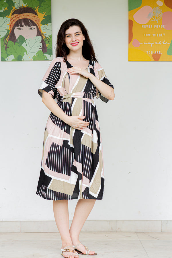 Geometrical Maternity and Nursing Tunic