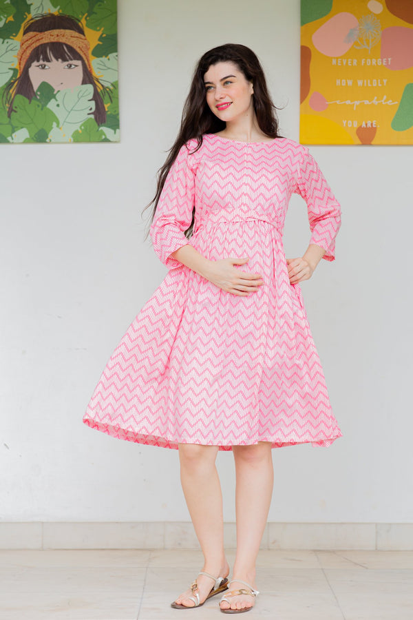 Pink Wave Maternity & Nursing Dress