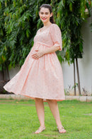 Floral Baby Pink Maternity & Nursing Dress