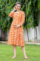 Orange Leafy Maternity & Nursing Kurta Dress