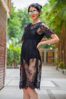 Exclusive Black Embroidered Lace Maternity Photoshoot Dress - MOMZJOY.COM