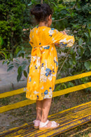 Hello Yellow Back Tie Crepe Dress (1 yr to 8 years)