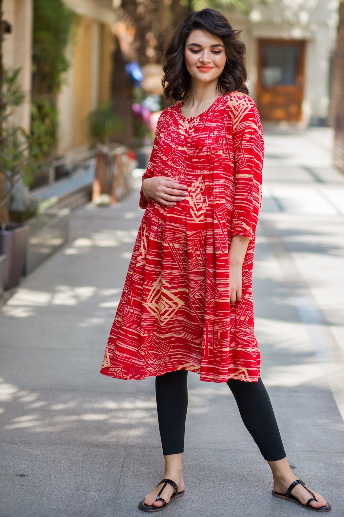 Ruby Coral Pleated Maternity Kurta