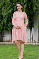 Baby Rose Striped Concealed Zips Nursing Dress