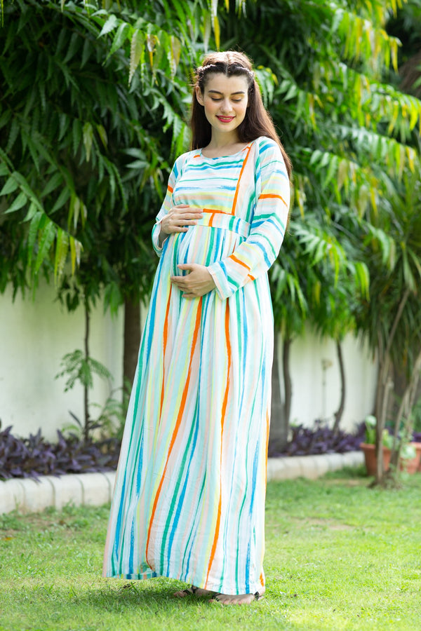 Pastel Striped Maternity & Nursing Maxi Dress