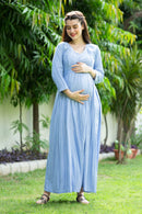 Sky Blue Dancing Stripes Maternity & Nursing Maxi Dress