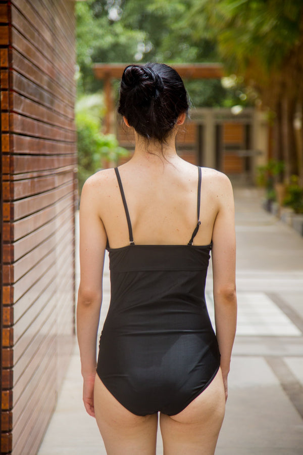 Chic Black Sheer Maternity Swimsuit - MOMZJOY.COM