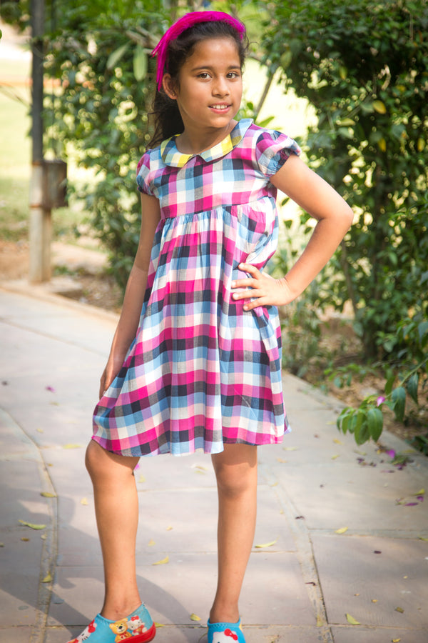 Magenta Plaid Collared Dress (1 year to 8 years) - MOMZJOY.COM