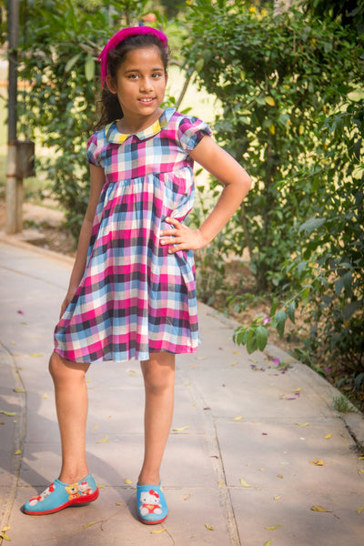 Magenta Plaid Collared Dress (1 year to 8 years)