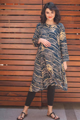 Abstract Indigo Maternity & Nursing Kurta