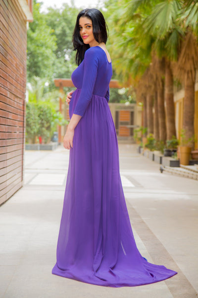 Exclusive Plush Violet Trail Maternity Photoshoot Gown - MOMZJOY.COM