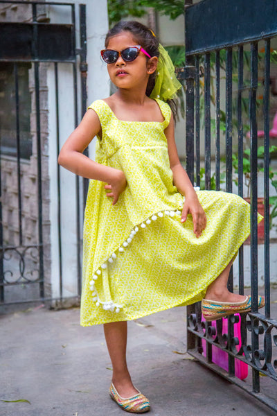 Lemon Pom Pom Layered Dress (1 year to 8 years)
