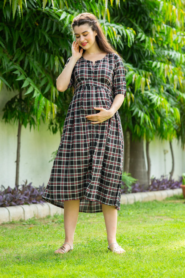 Red Chocolate Plaid Maternity and Nursing Dress