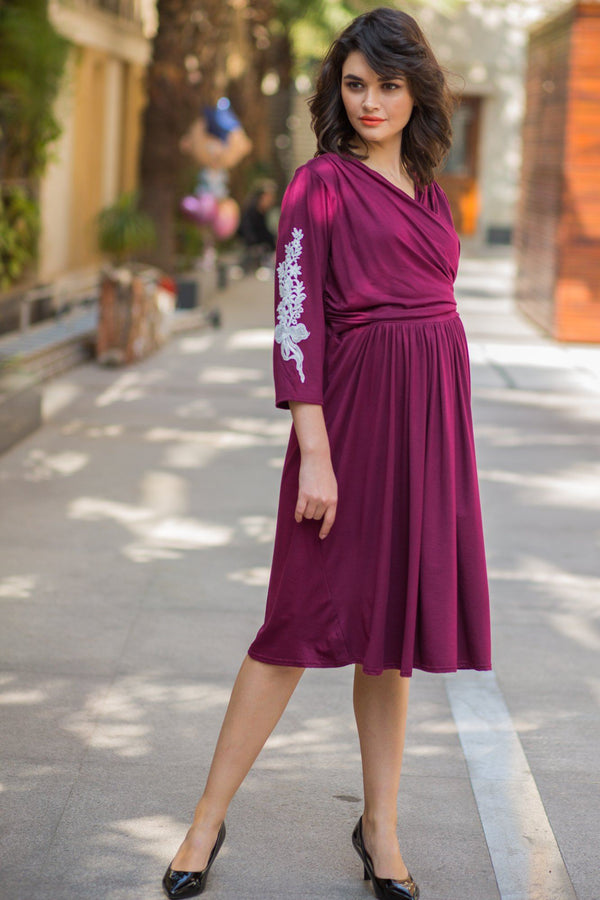 Maroon Berry Crochet Maternity & Nursing Wrap Dress - MOMZJOY.COM