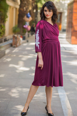 Maroon Berry Crochet Maternity & Nursing Wrap Dress