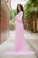 Exclusive Pretty Pink Trail Maternity Photoshoot Gown - MOMZJOY.COM