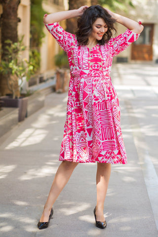 Tuscan Pink Abstract Maternity & Nursing Dress
