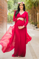 Exclusive Cherry Red Trail Maternity Photoshoot Gown - MOMZJOY.COM
