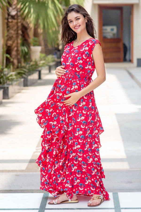 Raspberry Red Floral Luxe Maternity Dress